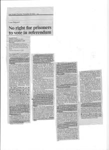No right for prisoners to vote in referendum